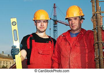 konstruktion, byggare, plats