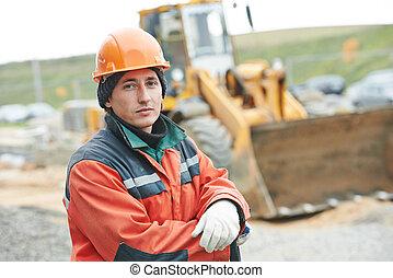 konstruktion, byggmästare, arbetare, stående