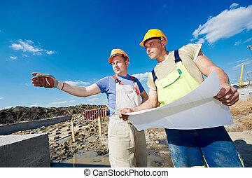 konstruktion, bygmestre, site, ingeniører