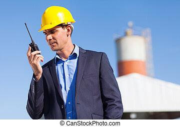konstruktion, chef, användande, walkie ljudfilm