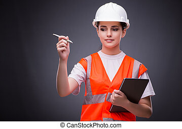 konstruktion, computer, arbejder, unge, tablet