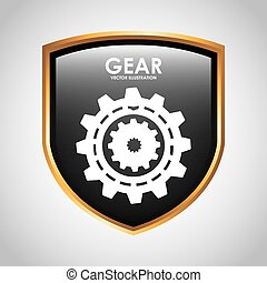 konstruktion, det gears, skjold