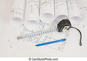 konstruktion, drawings., skrivbord, byggmästare