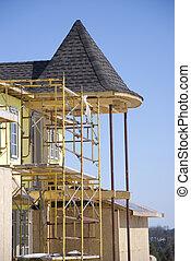 konstruktion, färsk, bostads