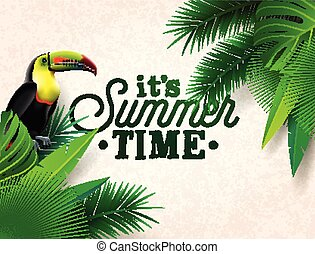 konstruktion, flyer, håndflade, typographic, vektor, invitation, illustration, grønne, hils, blad, blomst, toucan, planter, sommer, fugl, plakat, banner, brochure, card., baggrund., skabelon, eller, ferie, tid, tropisk
