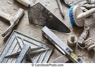 konstruktion, frimureri, cement, mortel, redskapen