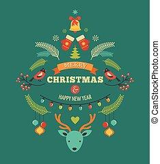konstruktion, fugle, elementer, rådyr, jul