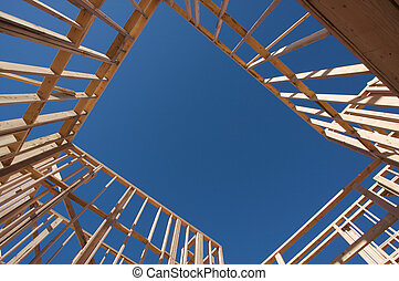 konstruktion, hjem, framing.