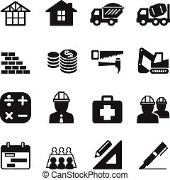 konstruktion, ikon, sätta, silhuett
