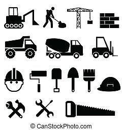 konstruktion, ikon, sæt