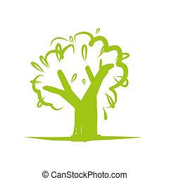 konstruktion, ikon, træ, grønne, din