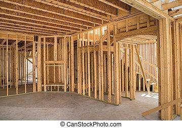 konstruktion, inramning, färsk, bostads, hem