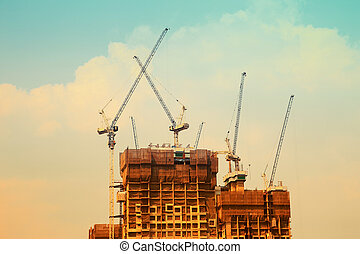 konstruktion kran, og, den, bygning