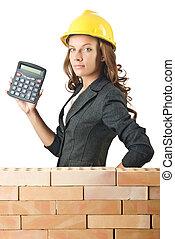 konstruktion, kvinna, begrepp, dyrt