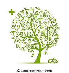 konstruktion, medicinsk begreb, træ, din