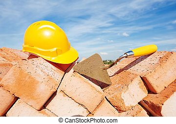 konstruktion, murare, redskapen