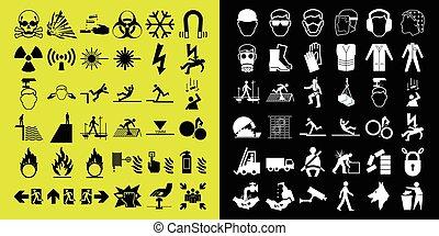 konstruktion, og, hazard, advarsel, ico