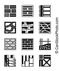 konstruktion, olika, material