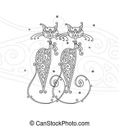 konstruktion, par, katte, silhuet, din