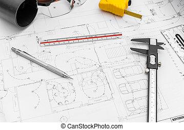 konstruktion, planer, og, affattelseen, redskaberne, på, blueprints, .