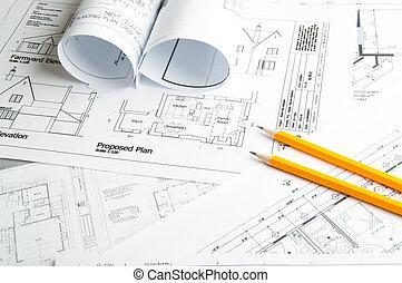 konstruktion, planerande, teckningar