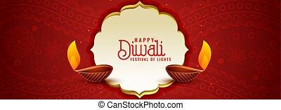 konstruktion, rød, festival, etniske, banner, indisk, diwali