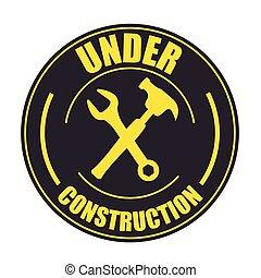konstruktion, redskaberne, site, under