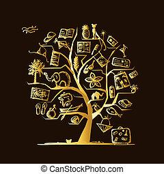 konstruktion, rejse, begreb, træ, din