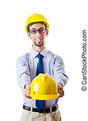 konstruktion, säkerhet, begrepp, med, byggmästare