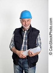 konstruktion site, driftsleder, hos, garanti, hjælm