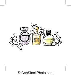 konstruktion, skitse, flasker, din, parfume