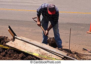 konstruktion, skovel, arbetare