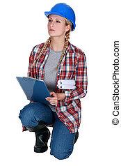 konstruktion, skrivplatta, arbetare, kvinnlig