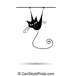 konstruktion, sort, silhuet, din, kat