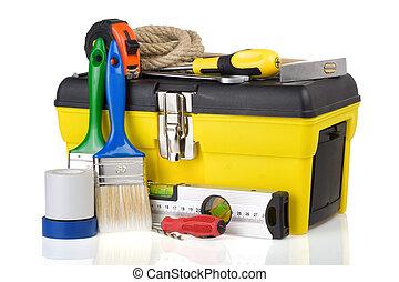 konstruktion, toolbox, och, redskapen, isolerat, vita