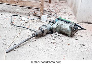 konstruktion, tryckluftsborr, verktyg, skräp, rivning