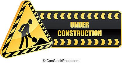 konstruktion under, advarsel, ikon, tegn