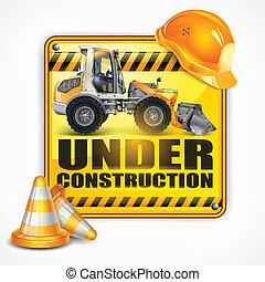 konstruktion under, firkantet, tegn