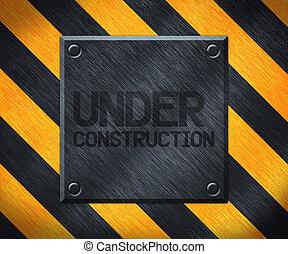 konstruktion under, metall tallrik, bakgrund