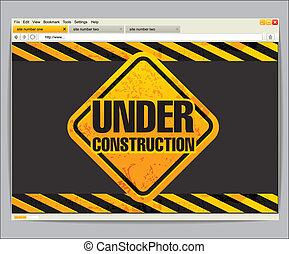 konstruktion under, site, skabelon
