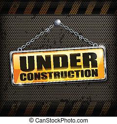 konstruktion under, sort, tegn