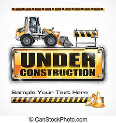 konstruktion under, tegn, traktor, og