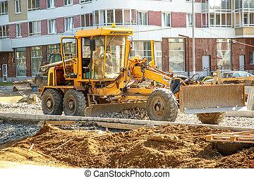 konstruktion, utanför, vägskrapa, väg, arbete