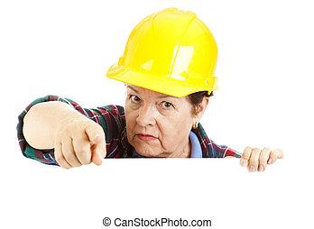 konstruktion, varning, arbetare