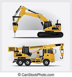 konstruktion, vektor, illustration, køretøjene