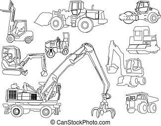 konstruktion, vektor, -, maskiner