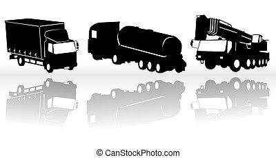 konstruktion, vektor, -, samling, køretøjene
