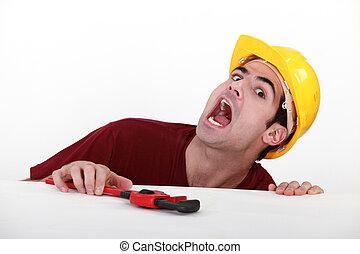 konstruktion, worker., skada