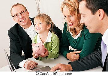 konsulent, -, finans, familj, försäkring