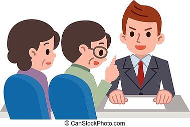 konsulent, par, äldre, konsultera